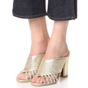 Tory Burch Shoes - Tory Burch Brida gold leather heel